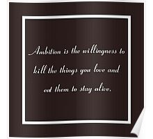 30 Rock Inspired Brown TV Show Jack Donaghy Quote, Ambition Poster