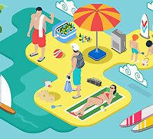 Isometric Beach Life - Summer Holidays Concept  by aurielaki