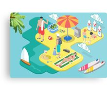 Isometric Beach Life - Summer Holidays Concept  Metal Print
