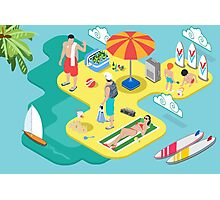 Isometric Beach Life - Summer Holidays Concept  Photographic Print
