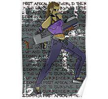 Post Apocalyptic Rocker Chick with Big Gun! Poster