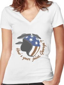 How's your joint, George ? Women's Fitted V-Neck T-Shirt