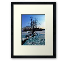 Trees and stream in winter wonderland | landscape photography Framed Print