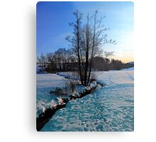Trees and stream in winter wonderland | landscape photography Metal Print