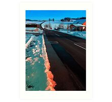 Long country road in winter wonderland   landscape photography Art Print