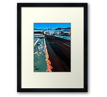 Long country road in winter wonderland | landscape photography Framed Print