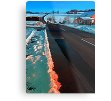 Long country road in winter wonderland | landscape photography Metal Print