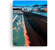 Long country road in winter wonderland | landscape photography Canvas Print