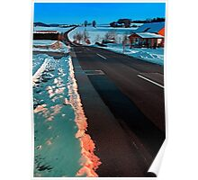 Long country road in winter wonderland | landscape photography Poster