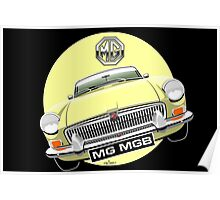 MGB chrome bumper pale yellow Poster