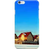 Village and winter sun reflections | landscape photography iPhone Case/Skin