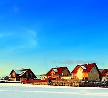 Village and winter sun reflections | landscape photography by Patrick Jobst