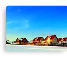 Village and winter sun reflections | landscape photography Canvas Print