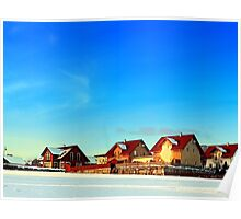 Village and winter sun reflections | landscape photography Poster