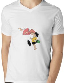 Ponyo on the Cliff by the Sea Mens V-Neck T-Shirt