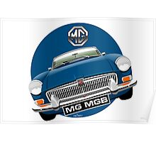 MGB chrome bumper blue Poster