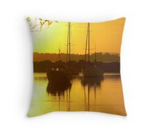 Glorious Golden Boats Throw Pillow