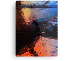 Winter evening down by the river | landscape photography Metal Print