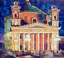 Mosta Dome by Night by Joseph Barbara