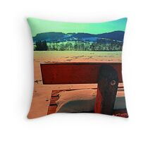 Enjoy the winter sun on a bench | landscape photography Throw Pillow