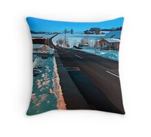 Long country road in winter wonderland | landscape photography Throw Pillow