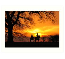 Sunset Horse ride Art Print
