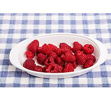 Red Raspberries in Bowl Photographic Print