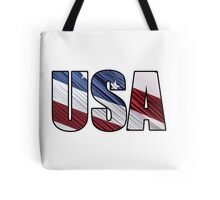 USA in Red White and Blue American Patriotic Flag Tote Bag