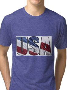 USA in Red White and Blue American Patriotic Flag Tri-blend T-Shirt