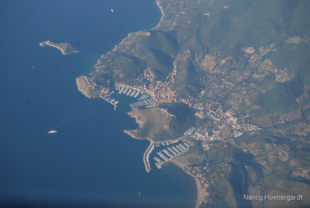 Aerial view of Elba Coast in Italy by Nancy Huenergardt