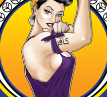 Disobey - Art Nouveau style Rosie the Riveter retro style pin up graphic Sticker