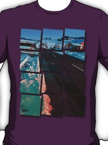 Long country road in winter wonderland | landscape photography T-Shirt