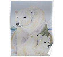 Polar Bear and Cubs Poster