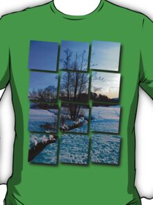Trees and stream in winter wonderland | landscape photography T-Shirt