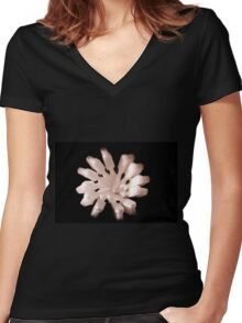 White Toothbrushes seen from above Women's Fitted V-Neck T-Shirt