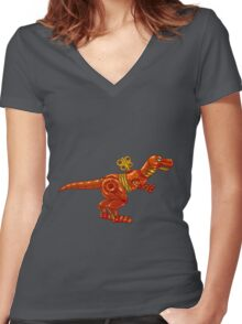 Clockpunk Dino Women's Fitted V-Neck T-Shirt