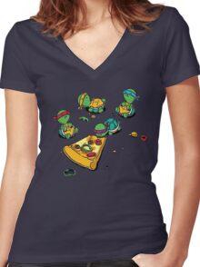 Baby Ninja Turtles T-Shirt Women's Fitted V-Neck T-Shirt