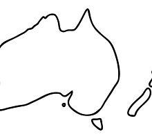 Australia New Zealand Downunder Map by lineamentum