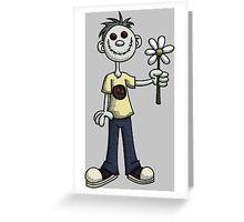 Creepy Boy with Flower Greeting Card