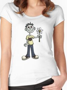 Creepy Boy with Flower Women's Fitted Scoop T-Shirt