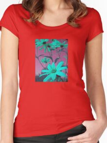 Green Flowers with Pink Sky T-Shirt Women's Fitted Scoop T-Shirt