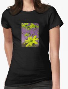 Yellow Flowers with Purple Sky T-Shirt Womens Fitted T-Shirt