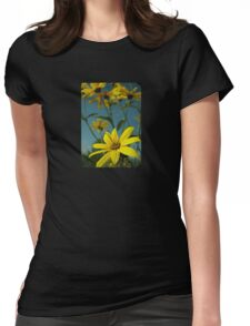 Yellow Flowers with Blue Sky T-Shirt Womens Fitted T-Shirt