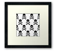 Black and white skull and crossbones pattern Framed Print
