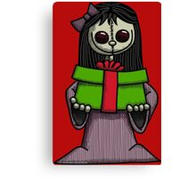 Creepy Girl with Package Canvas Print