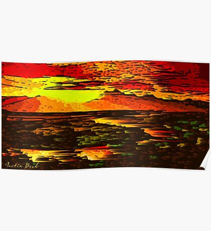 Picture 2015066 Justin Beck Mountain Sunset Poster