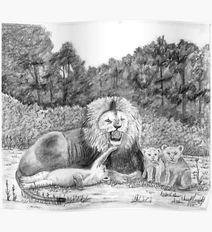Lion and Cubs -charcoal Poster