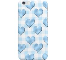 Blue Gingham lovehearts (Digital composition) wallpaper iPhone Case/Skin