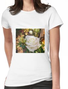 White Rose in the Garden 6 Womens Fitted T-Shirt