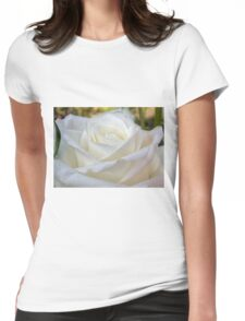 Close up of white rose 8 Womens Fitted T-Shirt